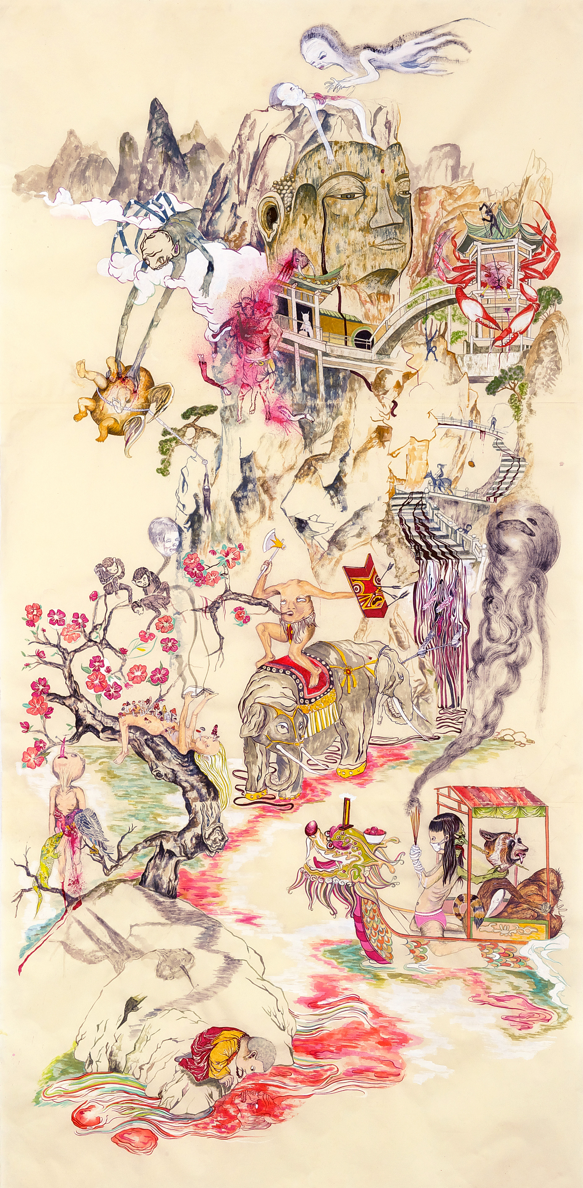 Howie Tsui 徐浩恩, Mount Abundance and the TipToe People #2 富饶山与跂踵国人之二, 2010, ink and paint pigment on mulberry paper 桑皮纸、颜料与墨, 191 x 96 cm
