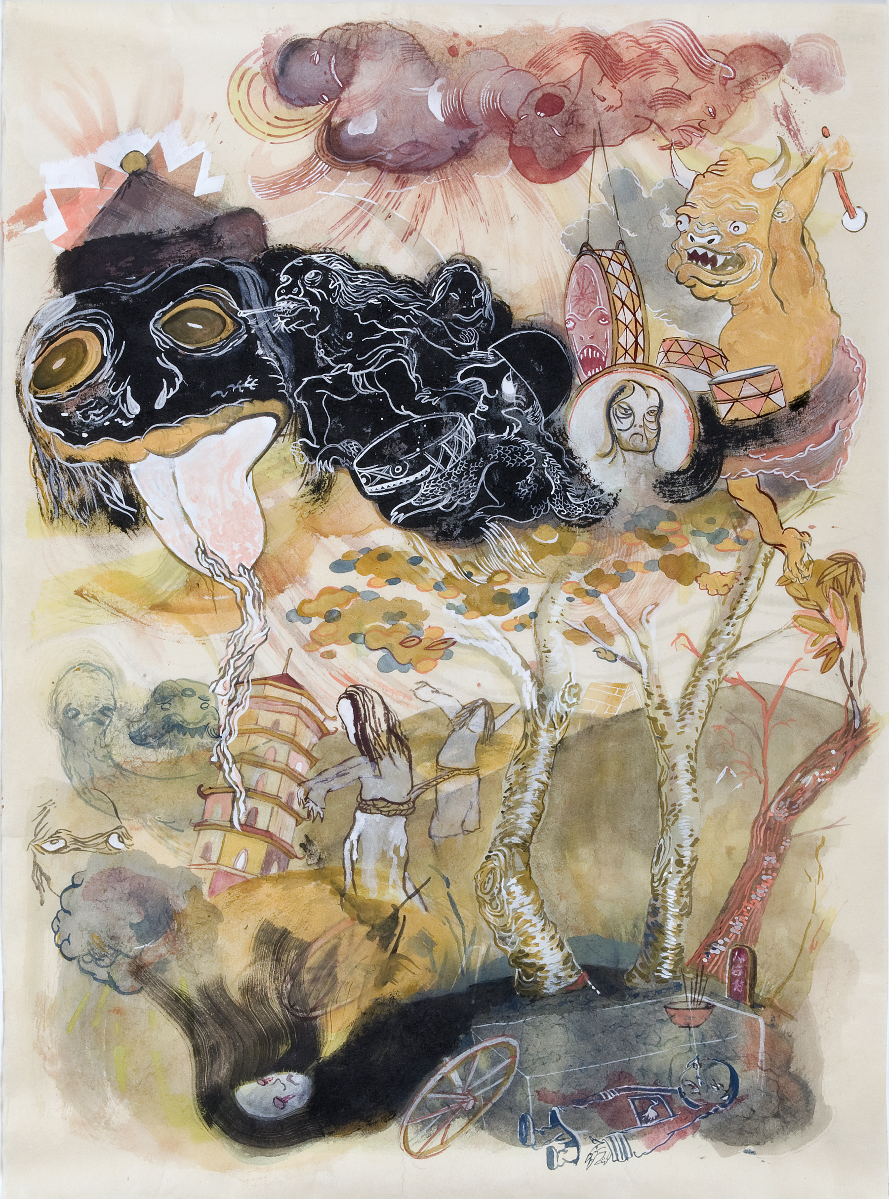 Howie Tsui 徐浩恩, Storm God 暴风雨之神, 2008, ink and paint pigments on mulberry paper 桑皮纸、颜料与墨, 47 x 64 cm