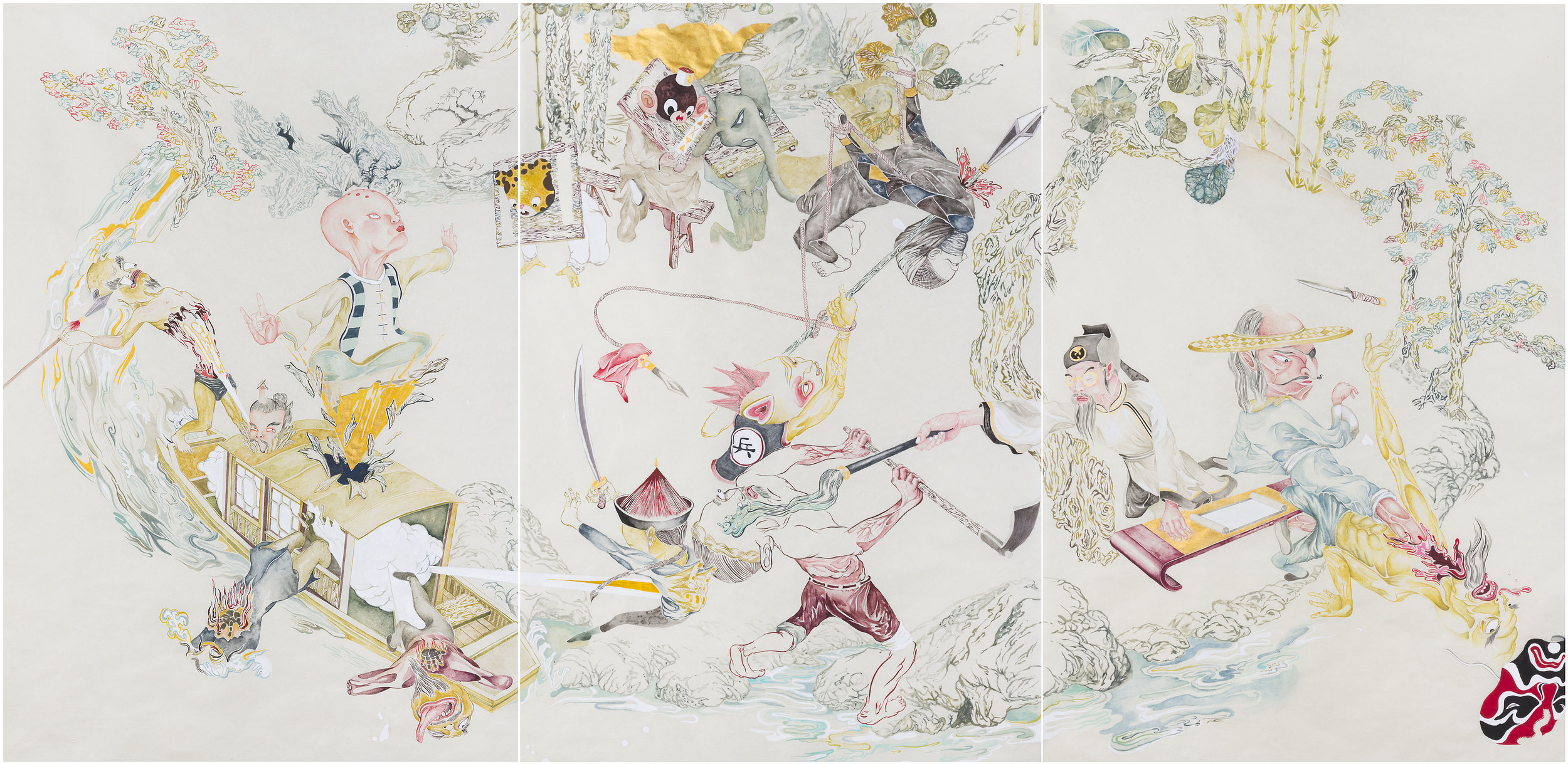 Howie Tsui 徐浩恩, Retainers of Anarchy (Taohua Island) 门客混战之桃花岛, 2010, Ink and paint pigment on mulberry paper 桑皮纸、国画颜料与墨, 110 x 206 cm