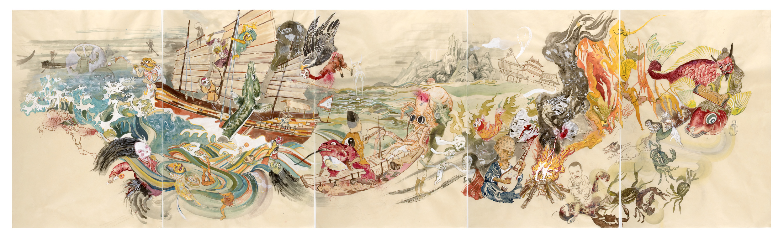 Howie Tsui 徐浩恩, Dead Sea 死海, 2009, Ink and paint pigment on mulberry paper 桑皮纸, 国画颜料与墨, 113 x 334 cm