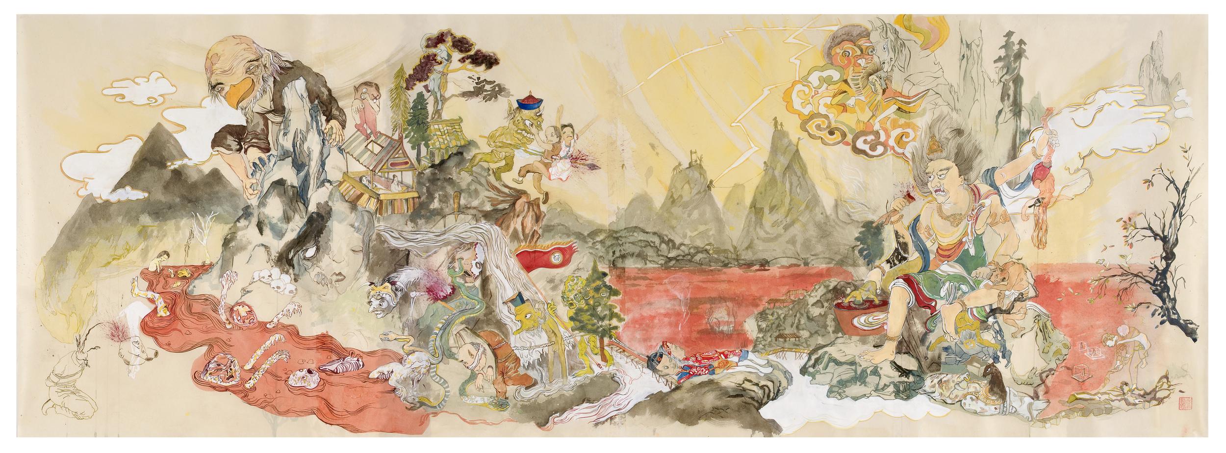 Howie Tsui 徐浩恩, Tengu's World 天狗的世界, 2009,  ink and paint pigment on mulberry paper 桑皮纸、颜料与墨, 63 x 188 cm