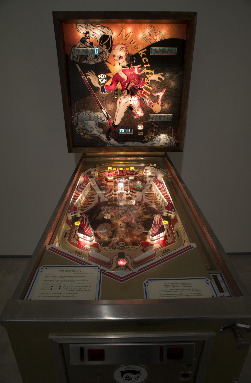 Howie Tsui 徐浩恩, Musketball! 火枪球弹!!, 2012, Pinball machine, Plexiglas, acrylic paint, vinyl, mp3 trigger and speakers 改装弹球机, 178 x 72 x 136 cm