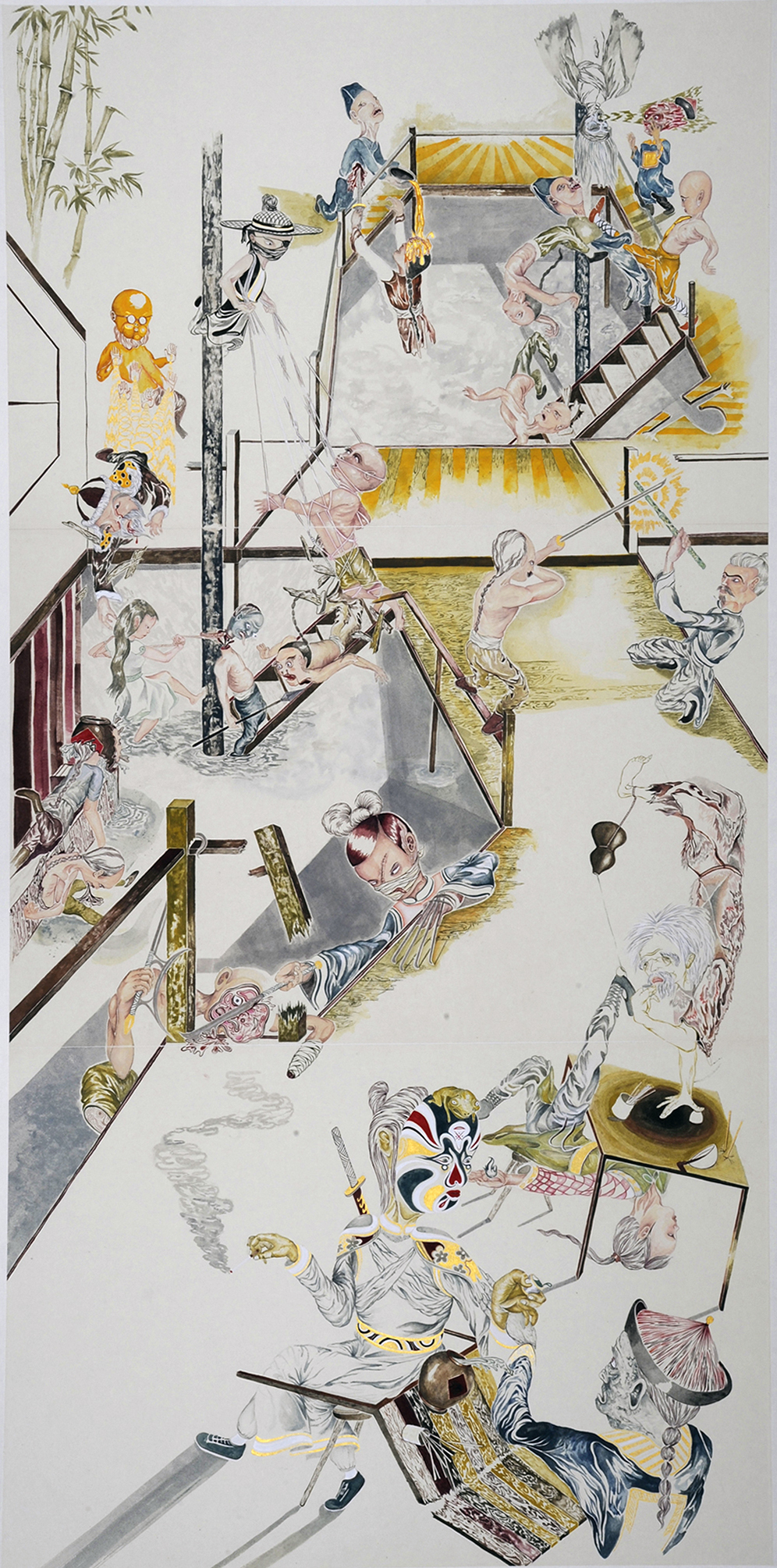 Howie Tsui 徐浩恩, Retainers of Anarchy (Tavern Havoc) 门客混战之客栈浩劫, 2015, Ink and paint pigment on mulberry paper 桑皮纸、颜料与墨, 209 x 109 cm