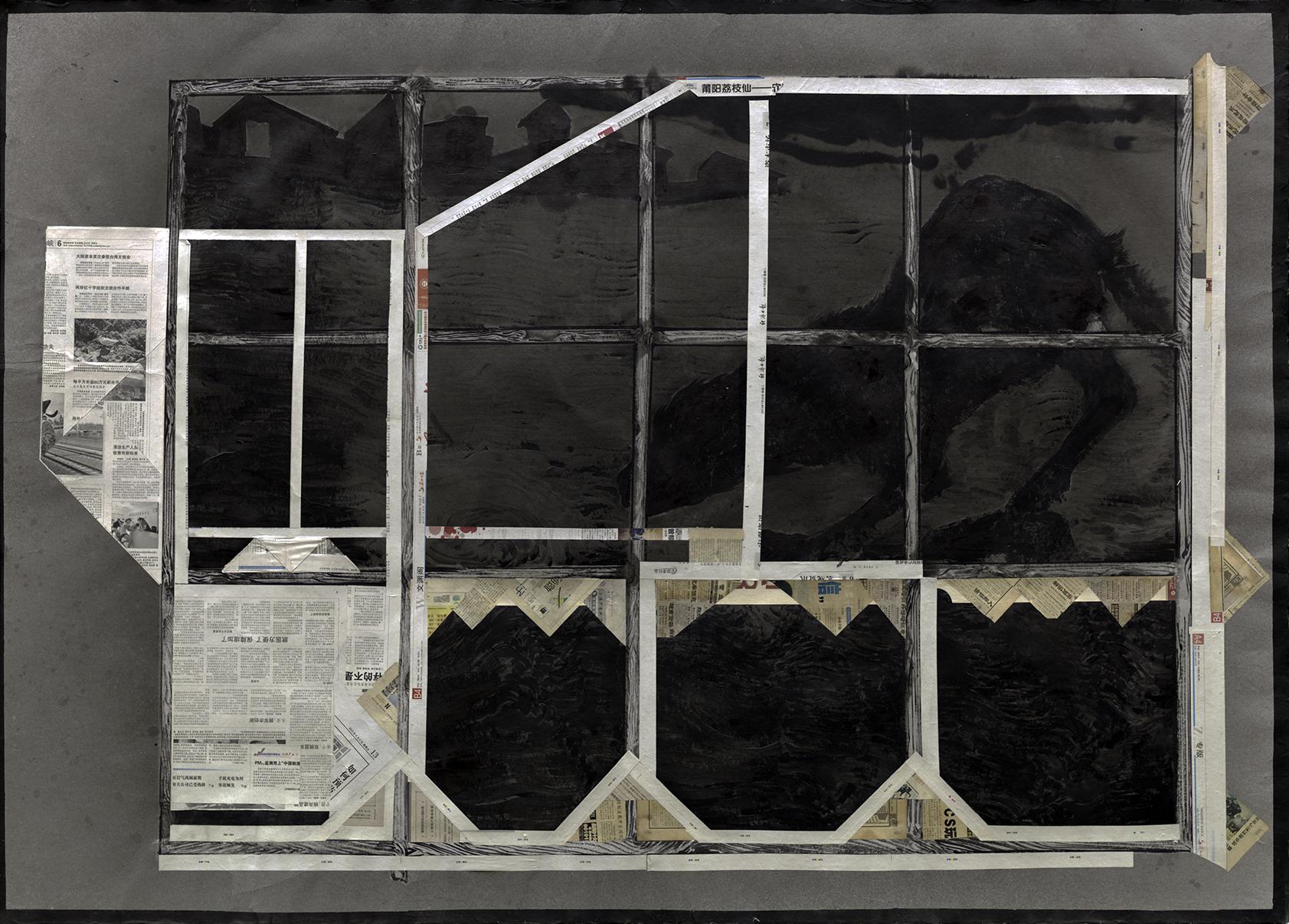Chen Yujun 陈彧君, Temporary Building No.130808 临时建筑No.130808, 2013, Handmade paper, newspaper, ink and acrylic 手工纸,水墨,丙烯,报纸, 200 x 150 cm