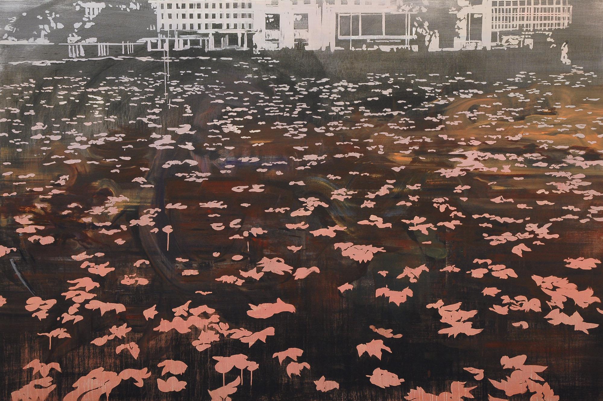 Lu Song 吕松, Falling Leaves 落叶, 2014, Oil on canvas 布面油画, 200 x 300 cm
