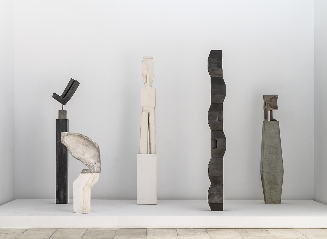 An Te Liu 刘安得, Mono No Ma 物之知无, Installation view, Gardiner Museum, From left to right, Obsolete Figure in Space, Aphros, Order of Solids, Gnomon, Chimera