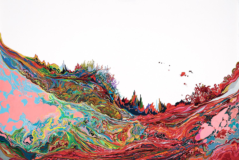 Zhou Fan 周范, Mountain #0004 山脉#0004, 2014, Acrylic ink and mineral color on paper 纸上亚克力彩墨与矿物颜料, 38.3 x 56.7 cm