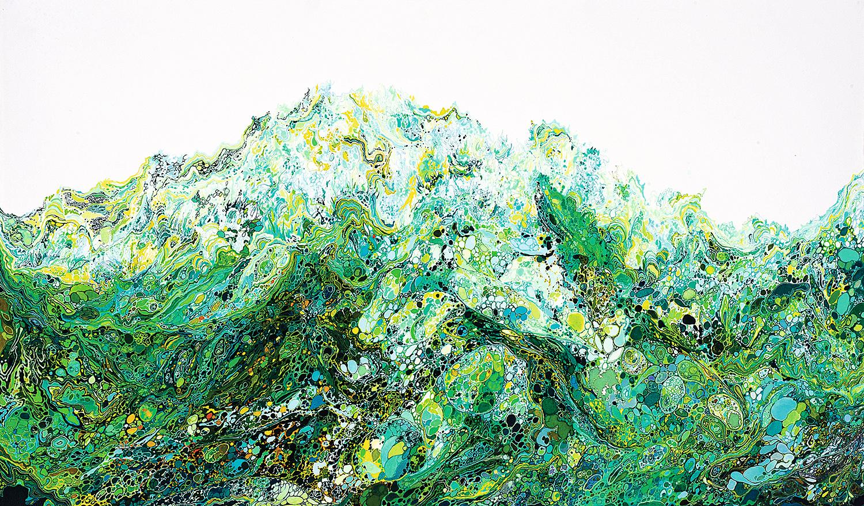 Zhou Fan 周范, Mountain #0002 山脉#0002, 2014, Acrylic ink and mineral color on paper 纸上亚克力彩墨与矿物颜料, 46 x 77.5 cm