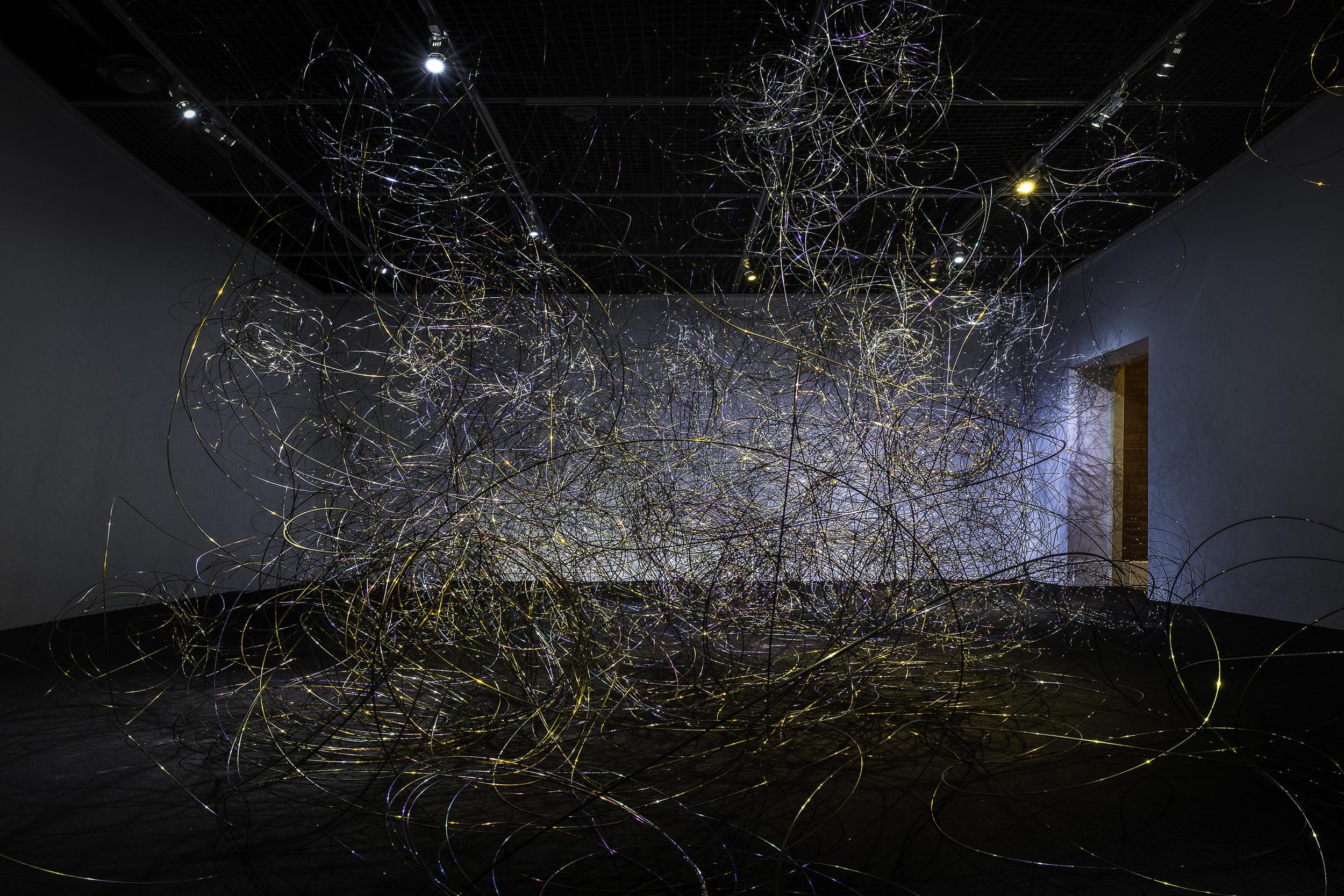 Zheng Lu 郑路, Three Thousand Meters Annoyance Silk 三千米烦恼丝, 2015, Stainless steel and electroplate 不锈钢、电镀, Dimensions variable 尺寸可变