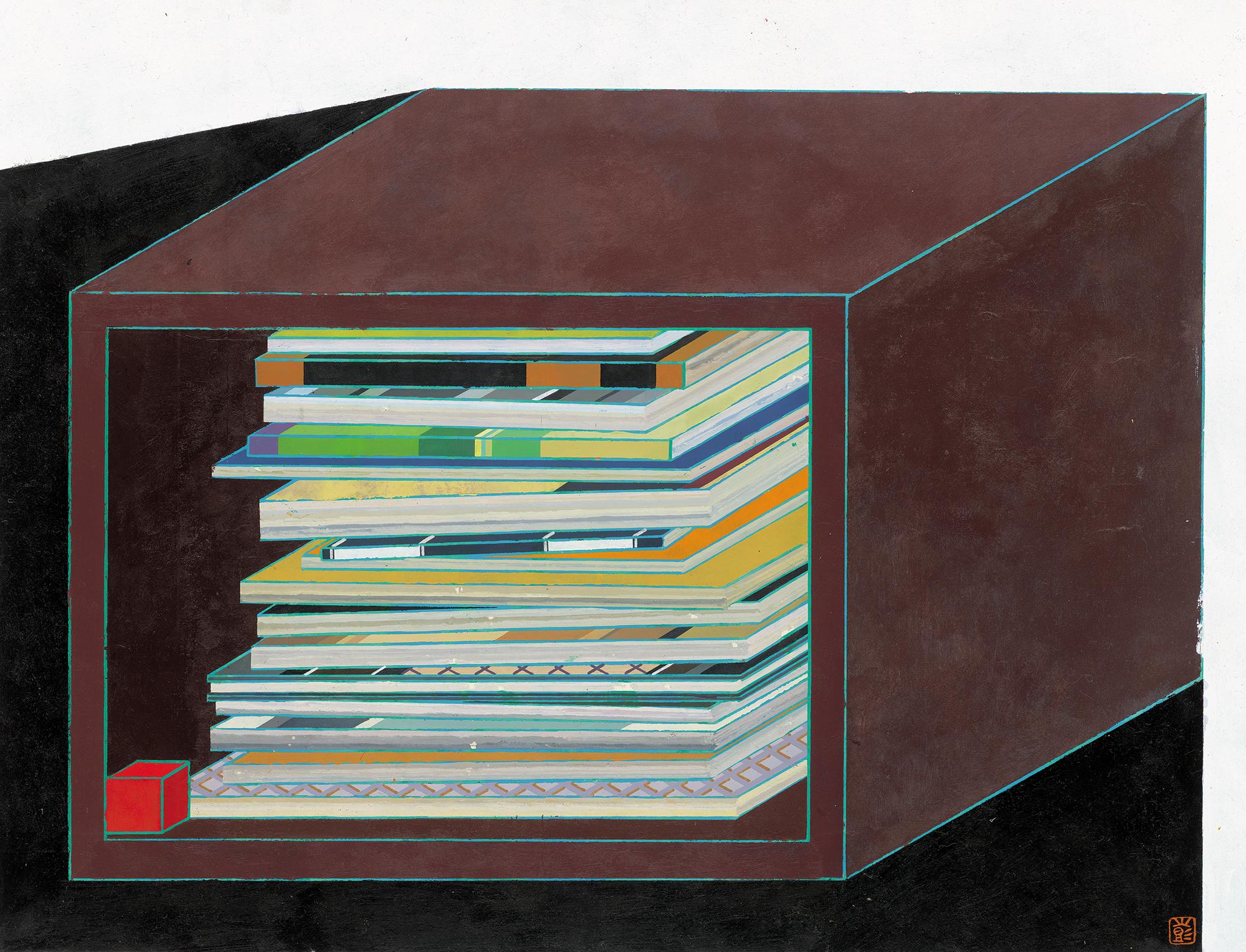 Peng Jian 彭剑, 局观, 2015, Ink and color on rice paper 纸本设色, 67 × 51 cm
