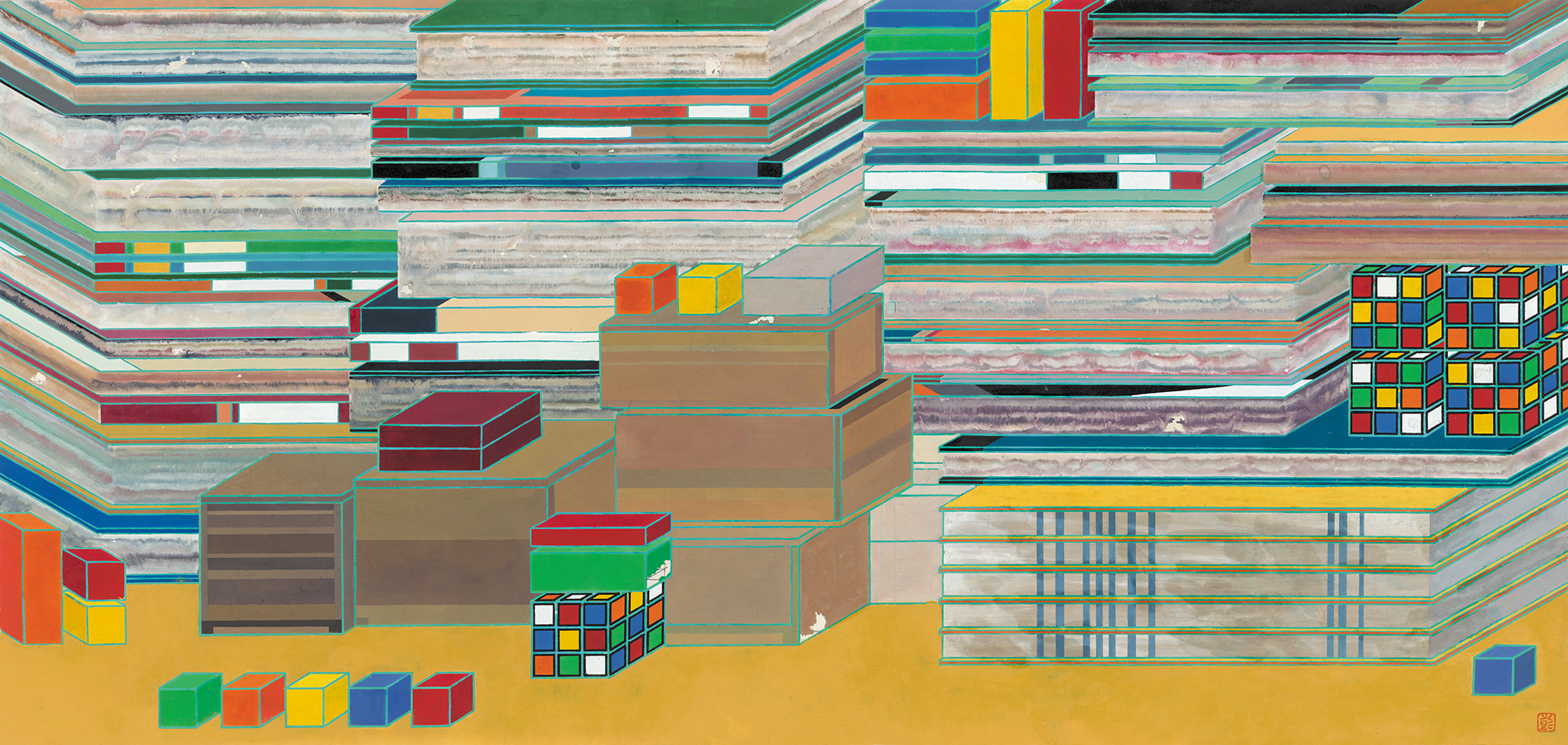 Peng Jian 彭剑, 置物, 2015, Ink and color on rice paper 纸本设色, 124 × 58 cm