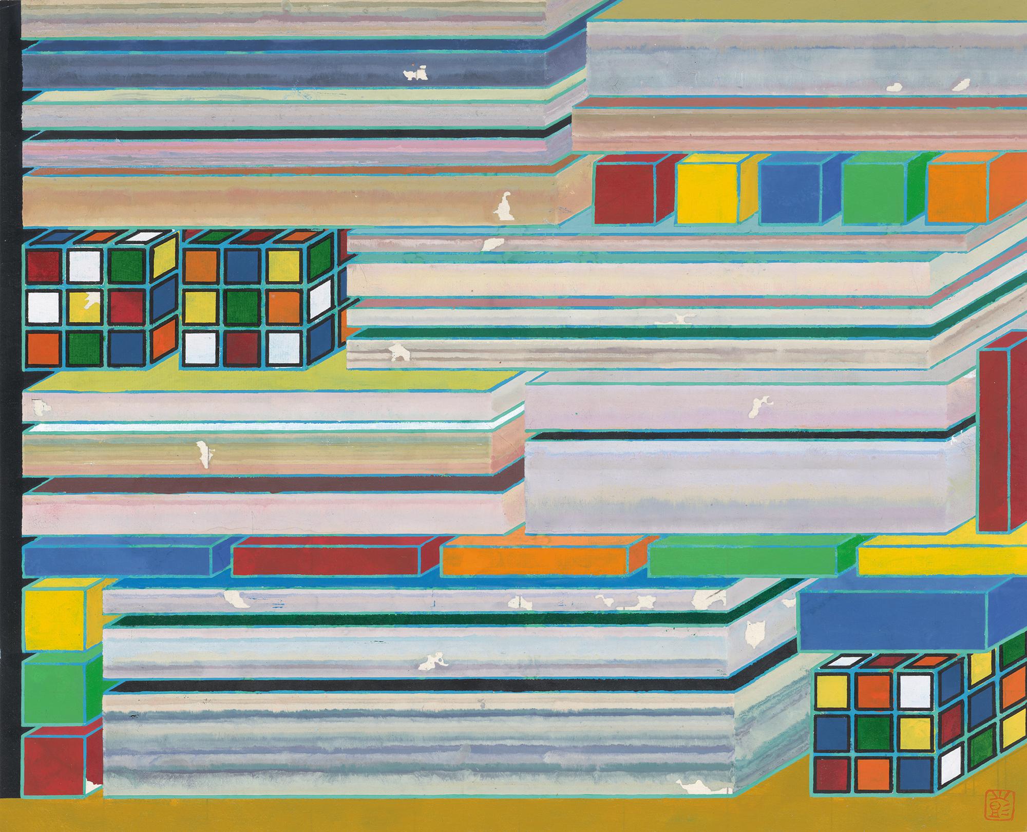 Peng Jian 彭剑, 迷局 No.2, 2015, Ink and color on rice paper 纸本设色, 49 × 40 cm