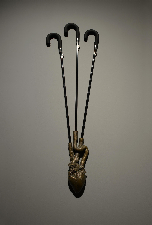 Gao Lei 高磊, J, 2014, Bronze and umbrellas, 青铜、伞柄 , 130 x 50 x 15 cm