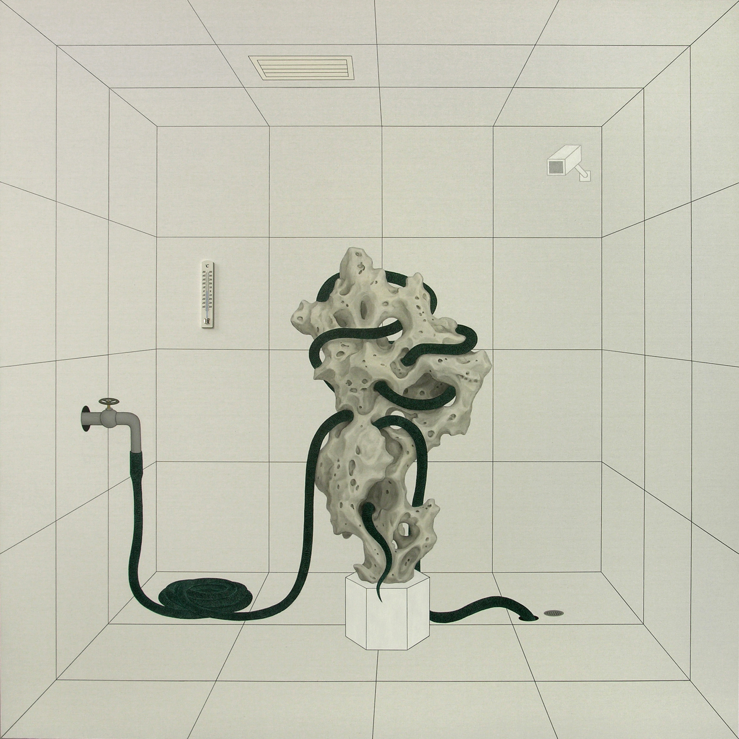 Gao Lei 高磊, A302, 2009, Oil and mixed media on canvas 布面油彩、综合材料, 200 x 200 cm