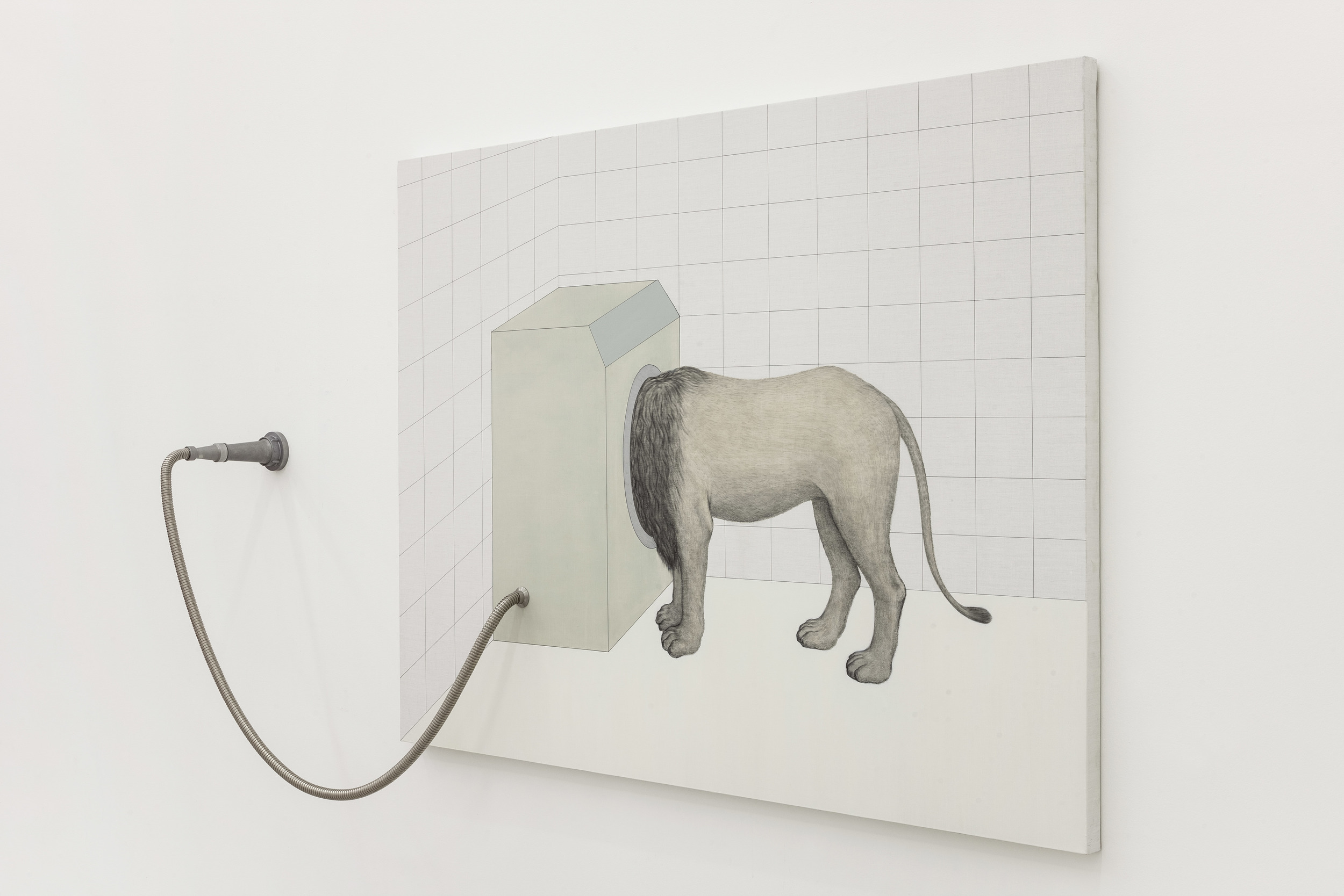 Gao Lei 高磊, H5126, 2014, Oil and acrylic on canvas, metal tube and high-pressure water hose 布面油画丙烯、金属软管、高压水枪, 150 x 200 cm
