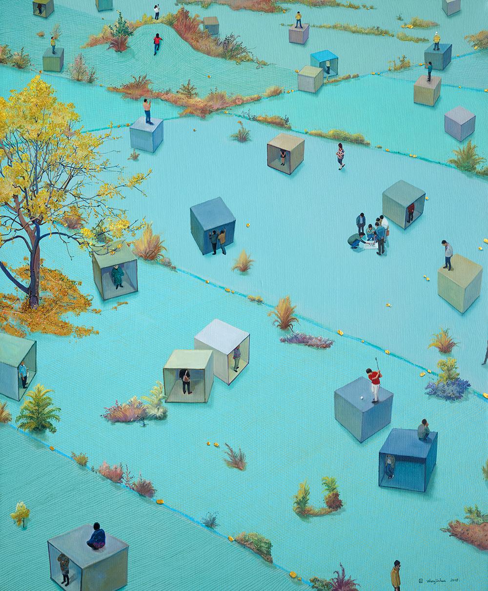 Zhou Jinhua 周金华, Autumn 秋天, 2018, Oil and acrylic on canvas 布面油彩、丙烯, 128 x 106 cm
