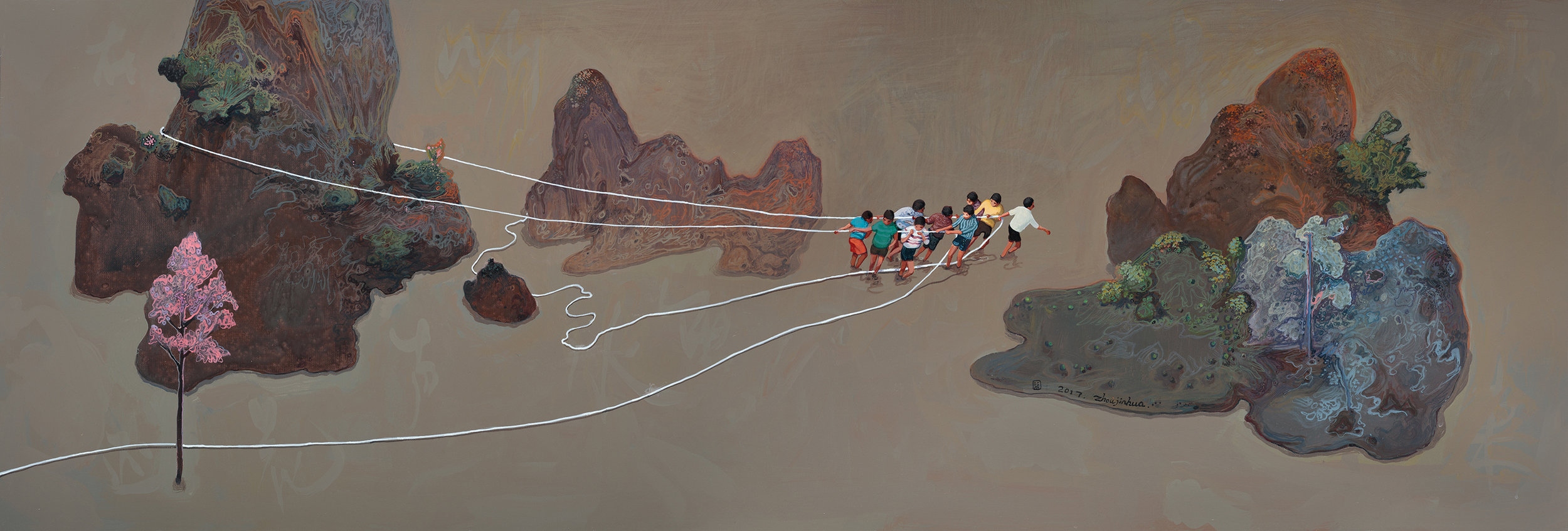 Zhou Jinhua 周金华, Moving Mountains 移山, 2017, Acrylic on canvas 布面丙烯, 41 x 121 cm