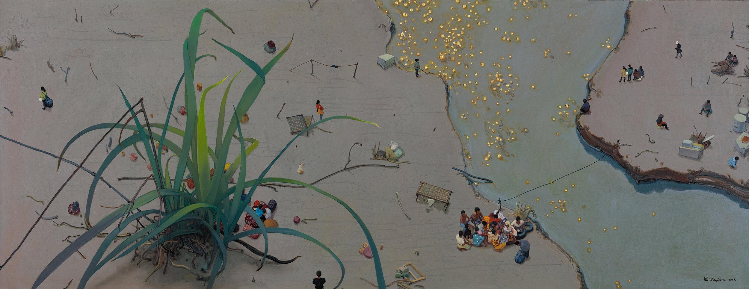 Zhou Jinhua 周金华, Grass and Gold 野草与黄金 No.2, 2017, Mixed media on canvas 布面综合材料, 80 x 210 cm