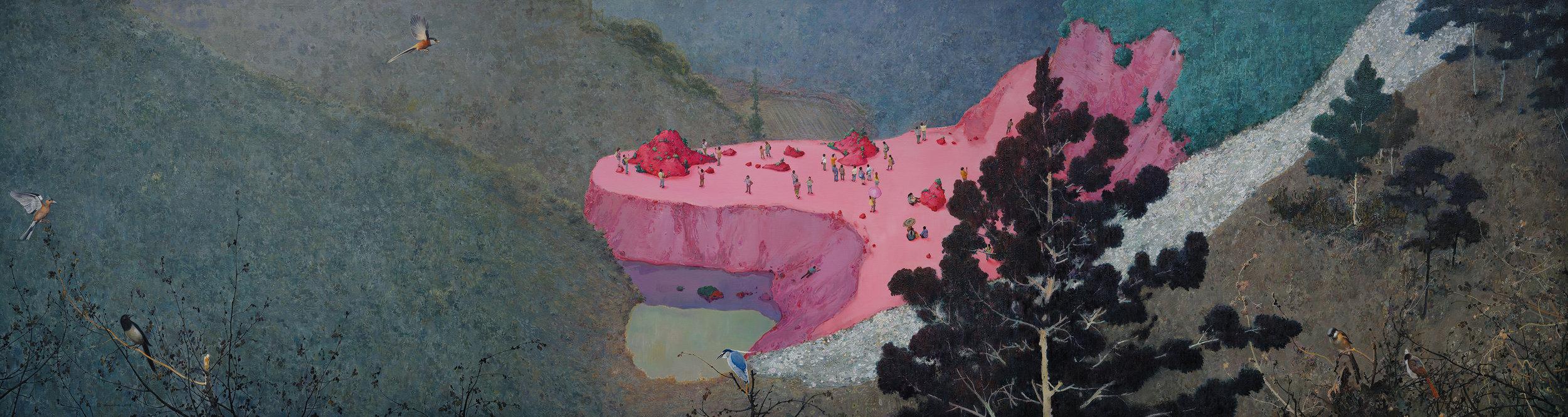 Zhou Jinhua 周金华, Scene Within a Scene 风景中的风景, 2018, Oil and acrylic on canvas 布面油彩、丙烯, 120 x 450 cm