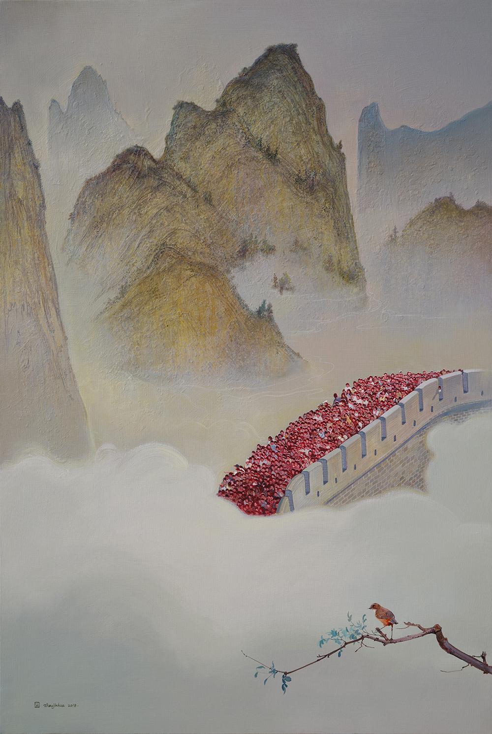 Zhou Jinhua 周金华, Calm and Clamor 寂静与喧哗, 2017, Oil and acrylic on canvas 布面油彩、丙烯, 150 x 100 cm