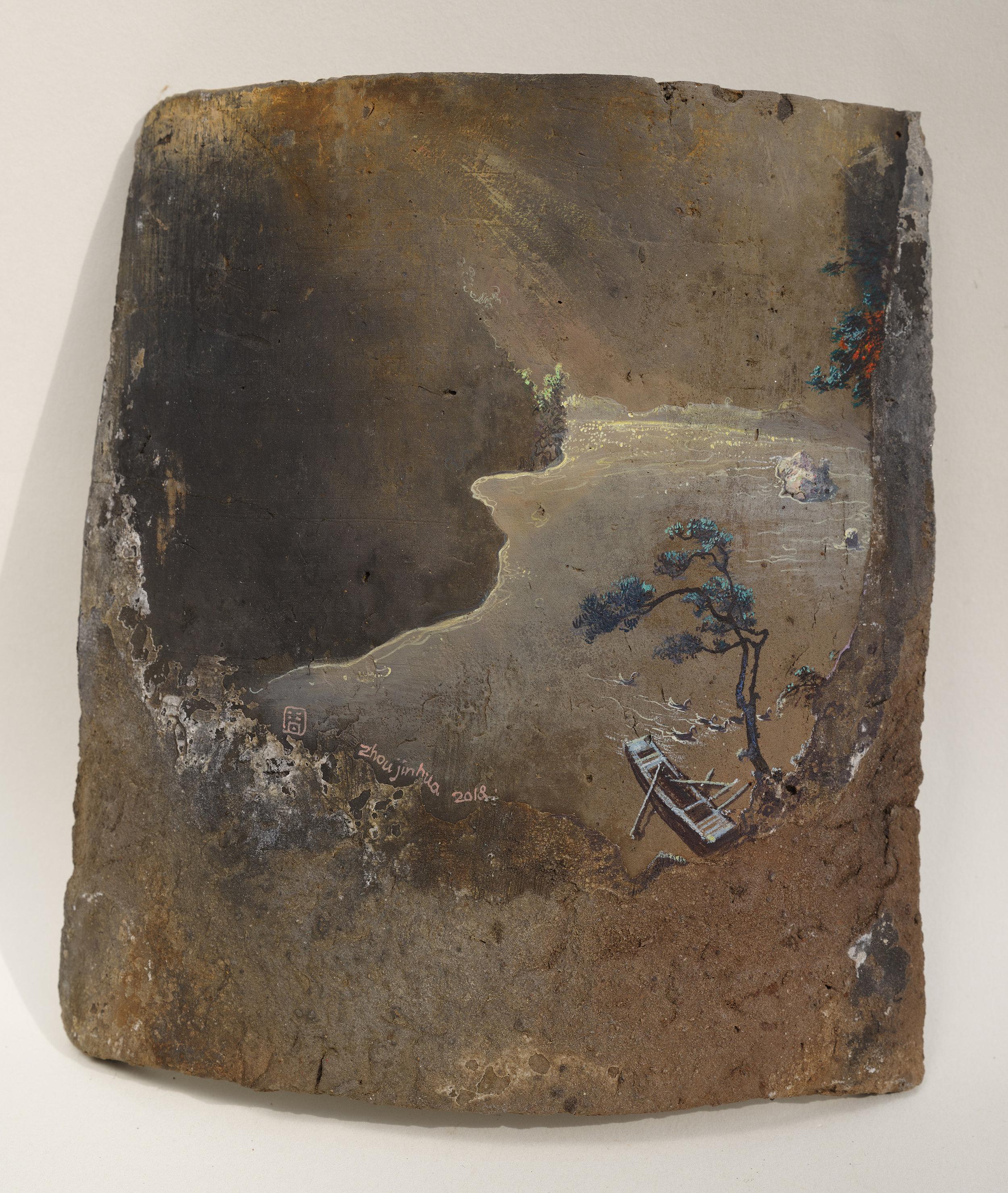 Zhou Jinhua 周金华, Remains of the Day 你我的痕迹 No.14, 2018, Acrylic on roof tile 瓦片、丙烯颜料, 21 x 19 cm