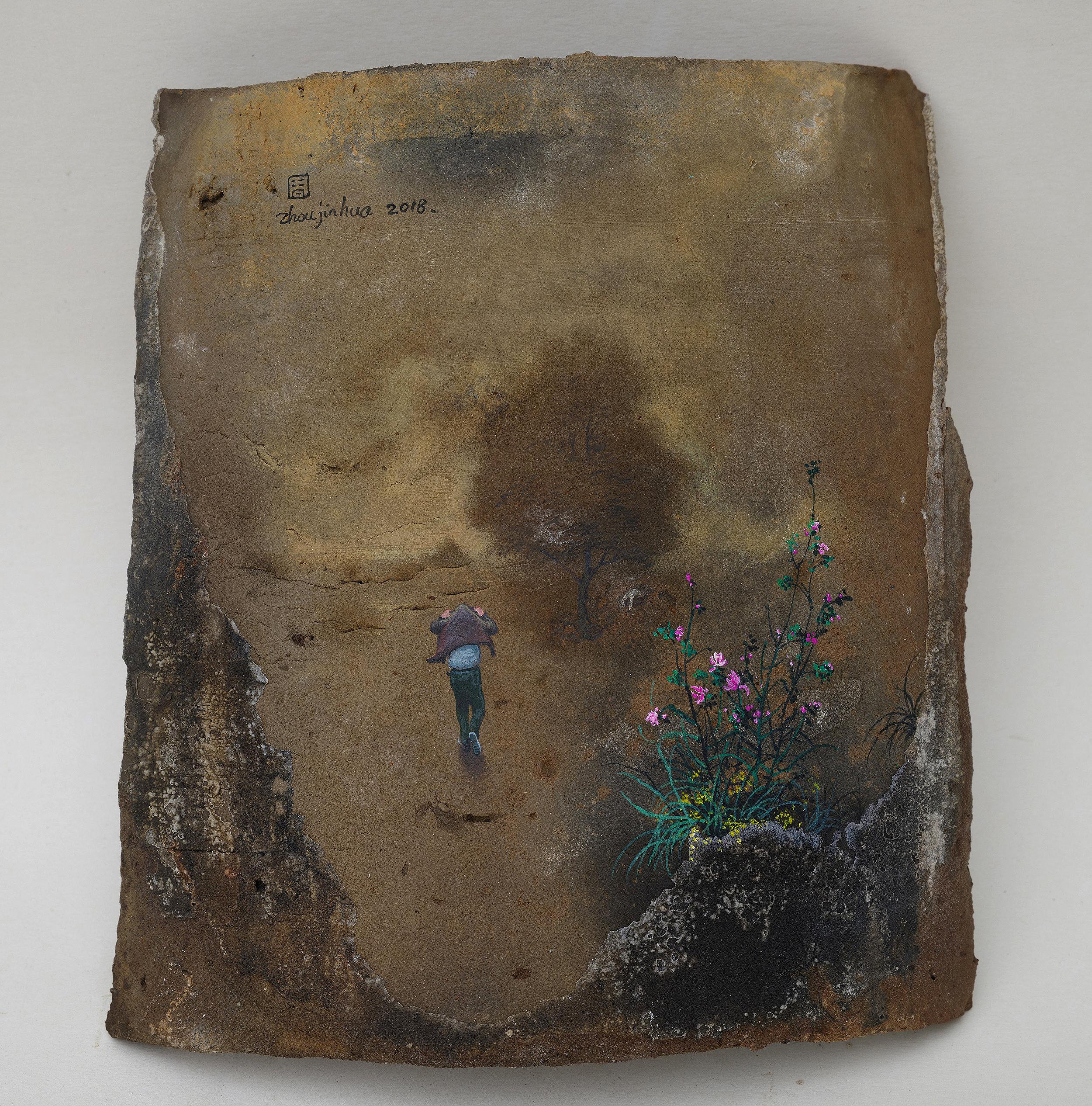 Zhou Jinhua 周金华, Remains of the Day 你我的痕迹 No.2, 2018, Acrylic on roof tile 瓦片、丙烯颜料, 21.2 x 19.5 cm