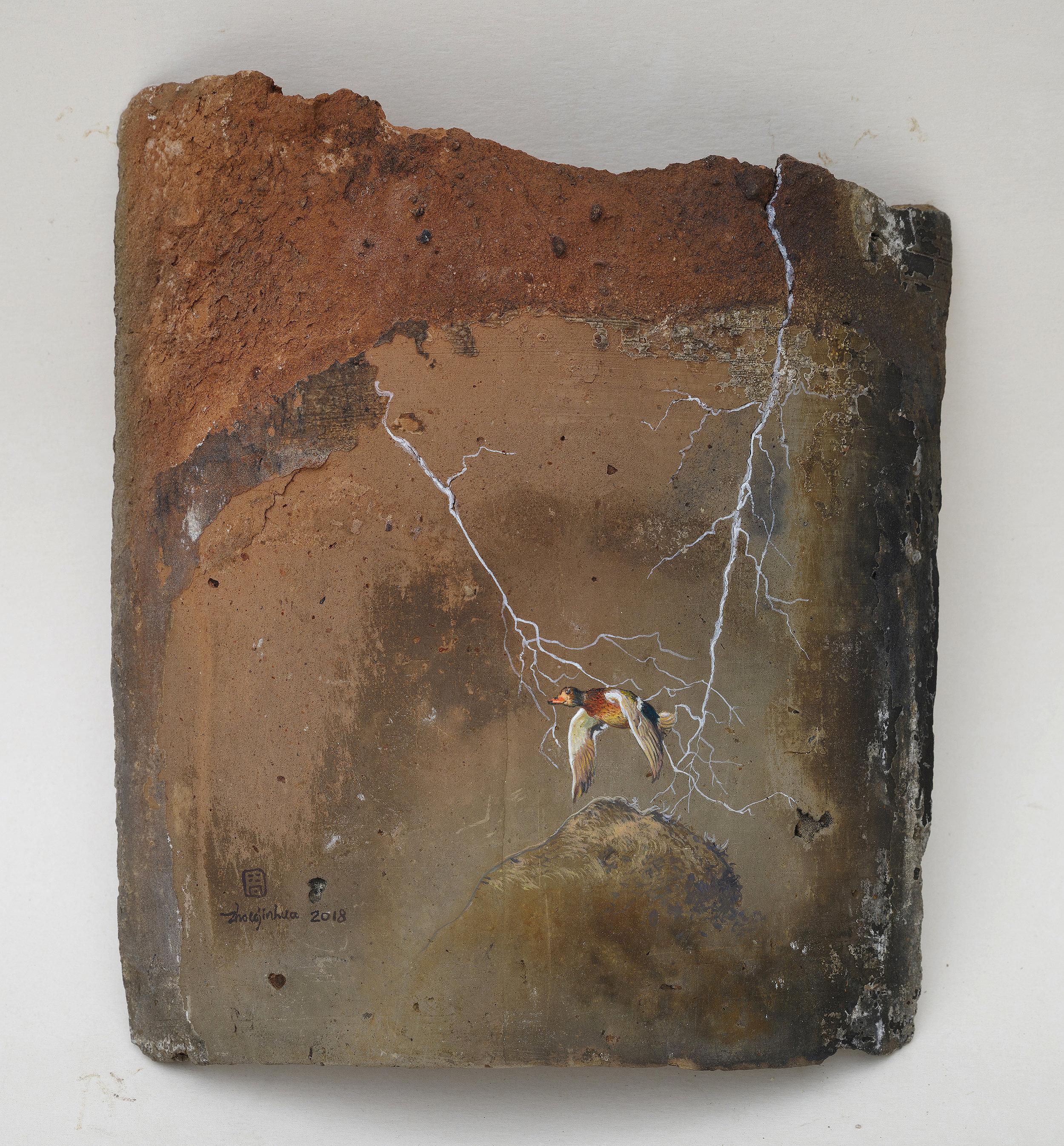Zhou Jinhua 周金华, Remains of the Day 你我的痕迹 No.7, 2018, Acrylic on roof tile 瓦片、丙烯颜料, 21.5 x 18.5 cm