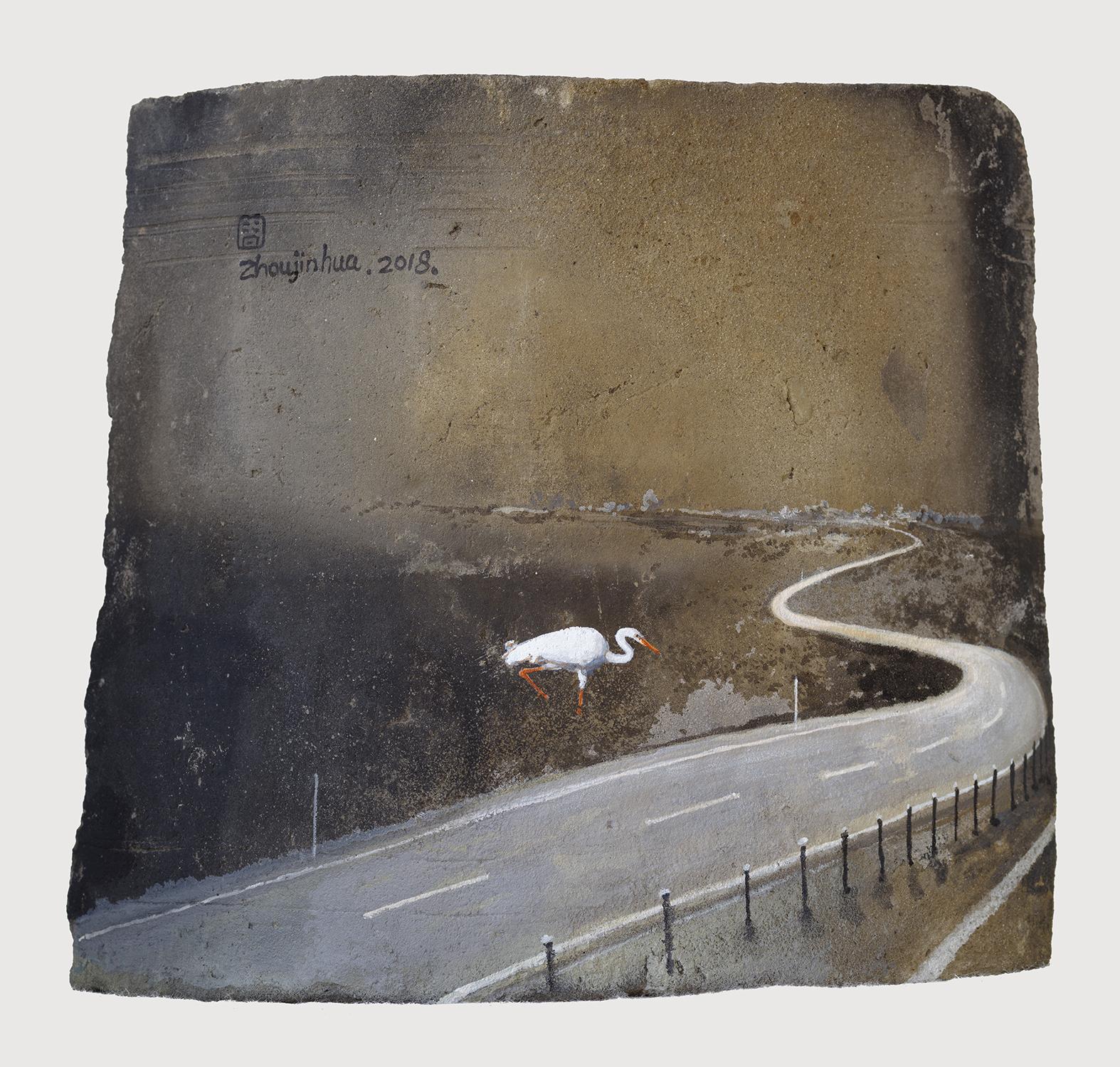 Zhou Jinhua 周金华, Remains of the Day 你我的痕迹 No.18, 2018, Acrylic on roof tile 瓦片、丙烯颜料, 17.5 x 19.5 cm
