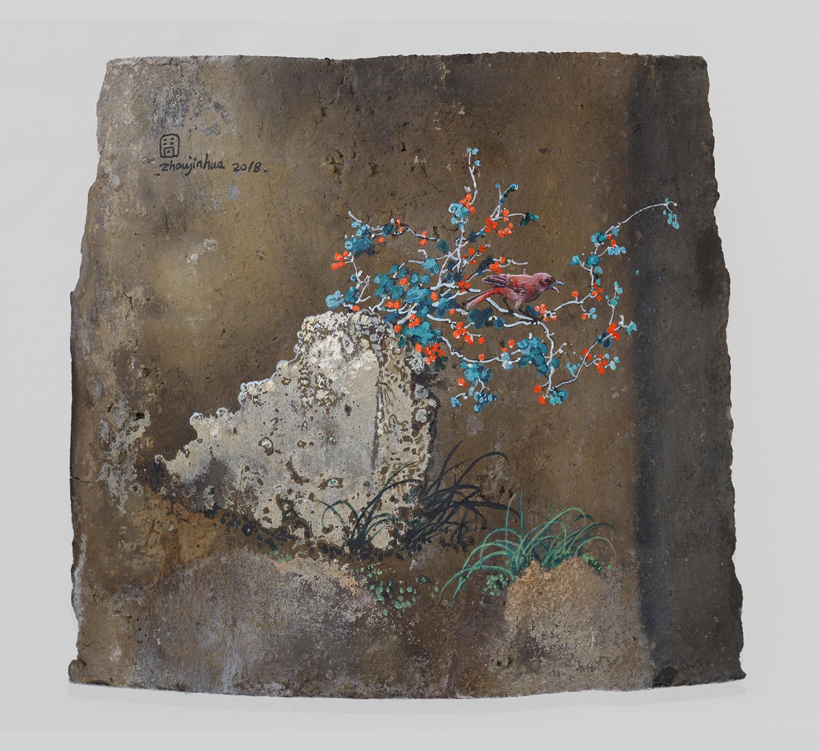Zhou Jinhua 周金华, Remains of the Day 你我的痕迹 No.20, 2018, Acrylic on roof tile 瓦片、丙烯颜料, 17.5 x 19 cm