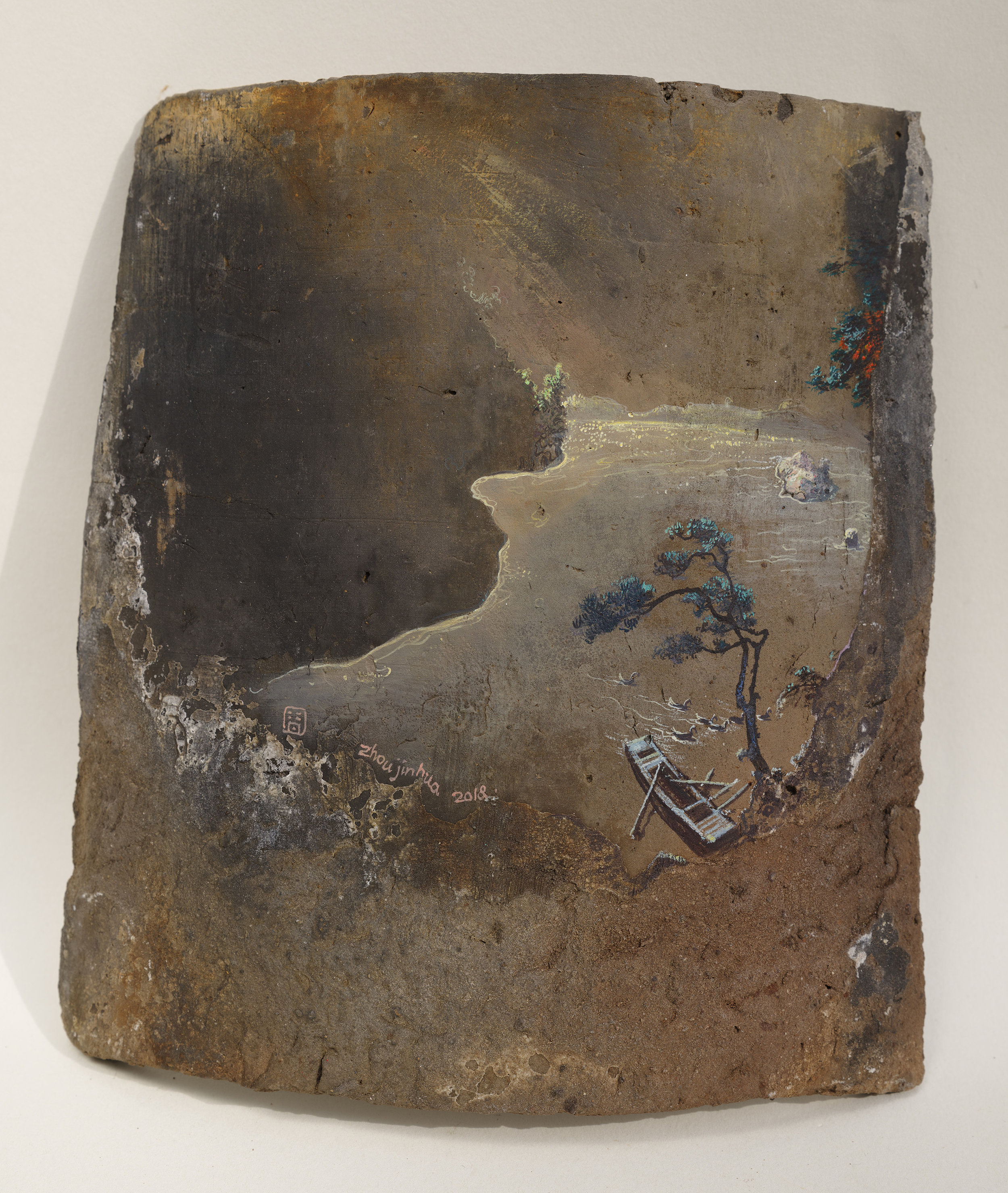 Remains of a Day No.14_2018_H21x19cm_acrylic on roof tile.jpg