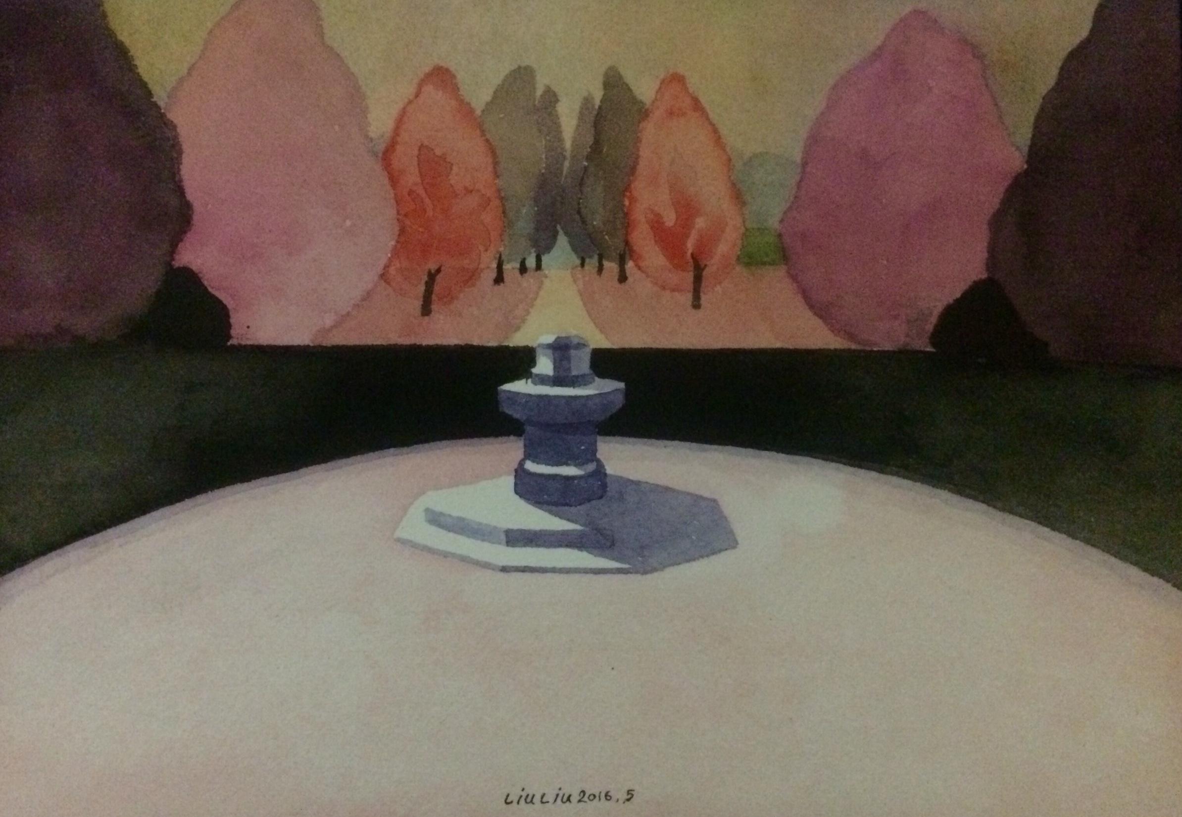 Liu Liu 刘流, Haze 氤氲, 2015, Watercolor on paper 纸上水彩, 18 x 26 cm