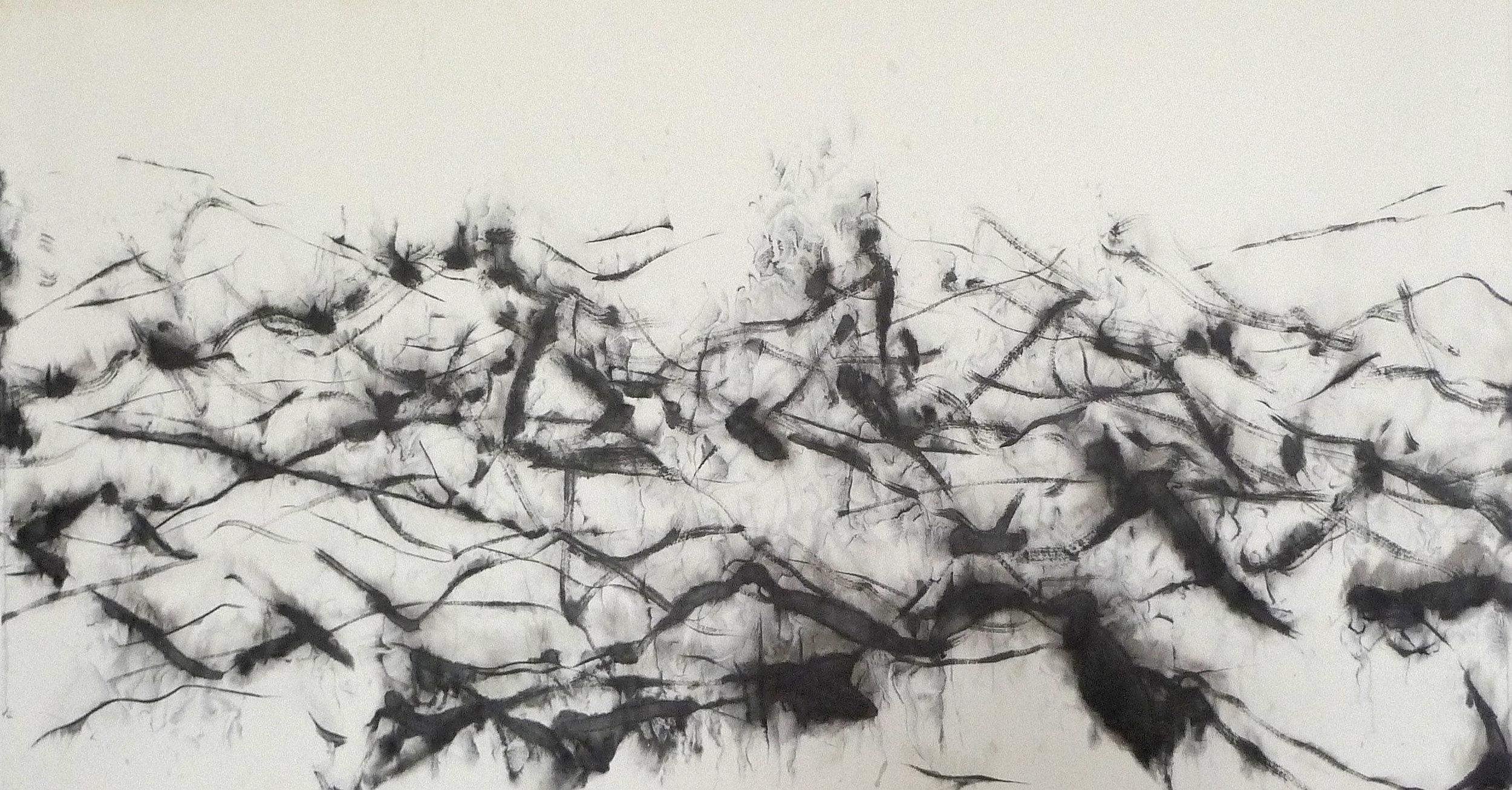 Zhou Jianjun 周建军, Untitled 无题, 2015, Ink on paper 纸本水墨设色, 95 x 176 cm