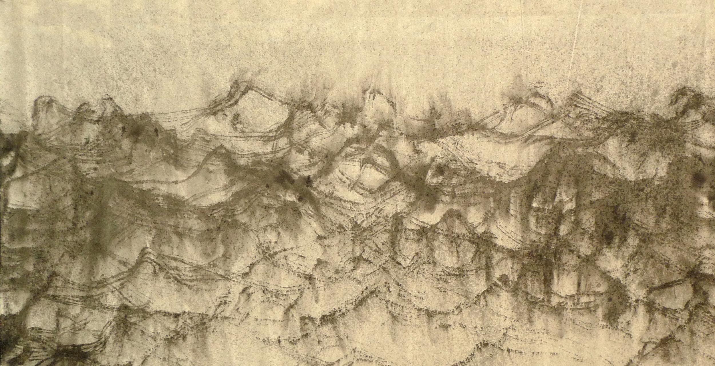 Zhou Jianjun 周建军, Untitled 无题, 2014, Ink on paper 纸本水墨设色, 95 x 176 cm