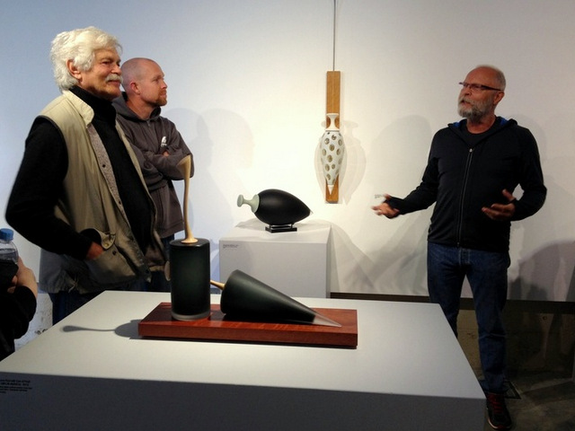 Klaus Moje, Brian Corr, and Nick Mount at the Canberra Glassworks.