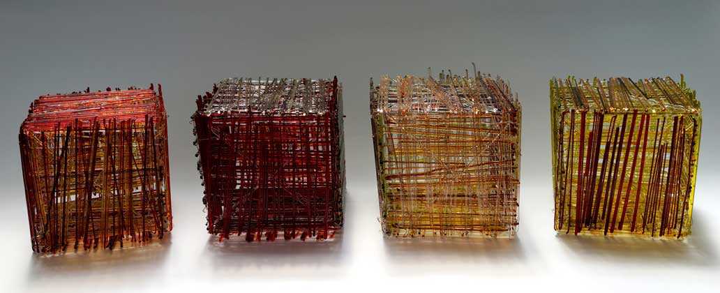 Harvest (2017), 21 x 63 x 11 cm (total), kiln formed glass, copper wire. Private collection.