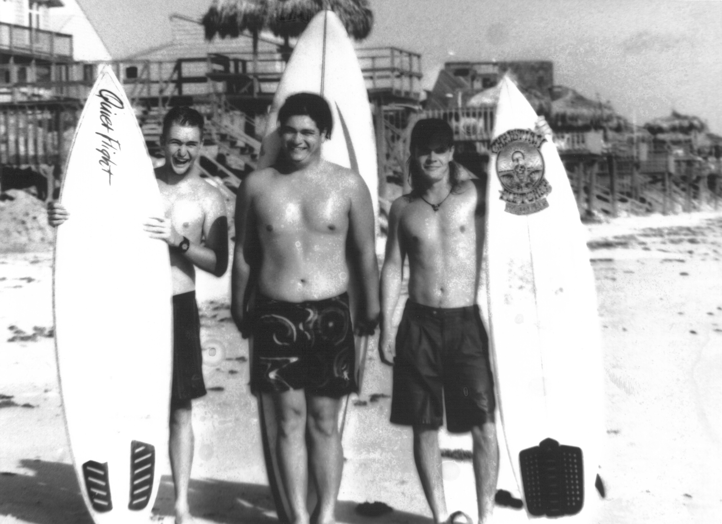 Above:      Original Founders; Tom White, Mike Schemmel, Stephen Walcott and Mike Curling (Mike Curling not pictured) Bethune Beach, 1992