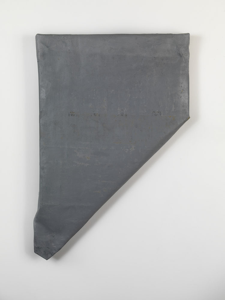 Folded-over Painting (gray/ #2) ,  2012 oil, wax, canvas, wood cm 67 x 45 x 6