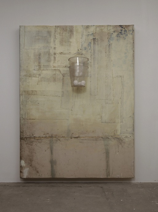 Untitled - Bucket painting , 2008  olio, cera, tela, resina, cartapesta, fil di ferro / oil, wax, resin, paper mache, wire  cm 210 x 159 x 40