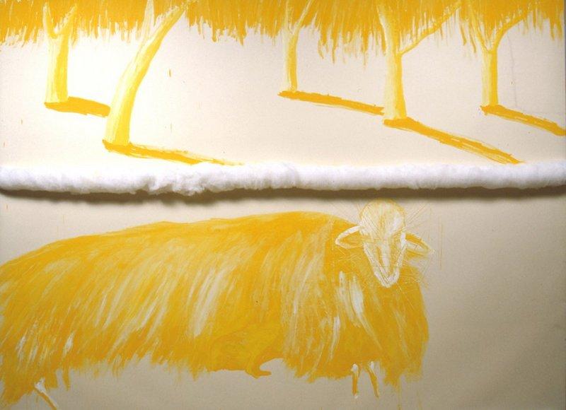 Giallo Cavallo , Fibre, olio e acrilico su carta montato su tela, cm 266 x 360, 2004