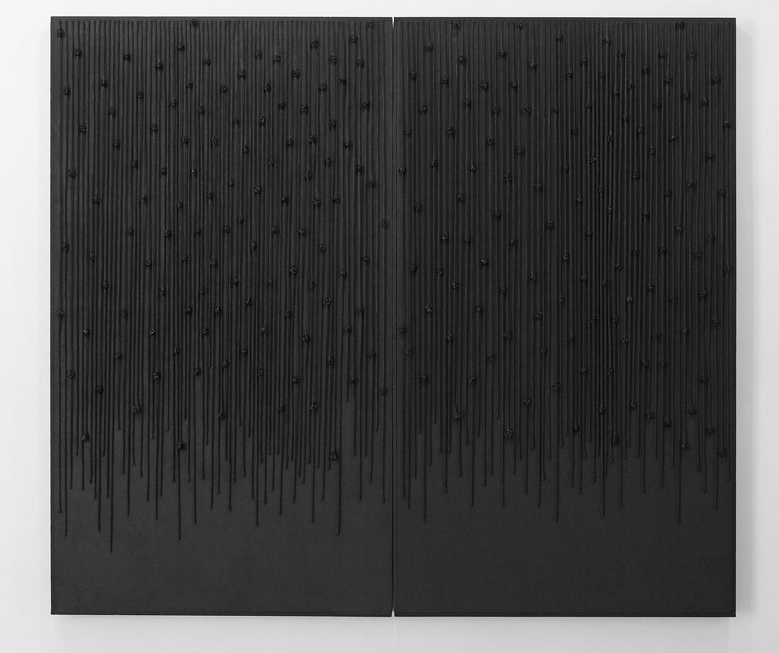 Senza titolo , 2012 legno, corde, smalto, inserti metallici cm. 162x186x7