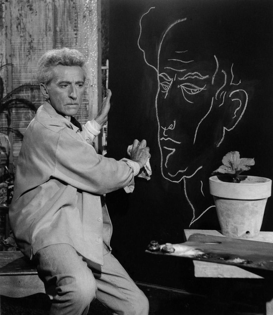 Cocteau, son portrait et l'hibiscus,  1959