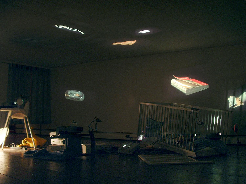 Eulalia Valldosera,  Still life (Provisional Living #3),  2000 Installation with slide projectors, mirrors, motors, furniture