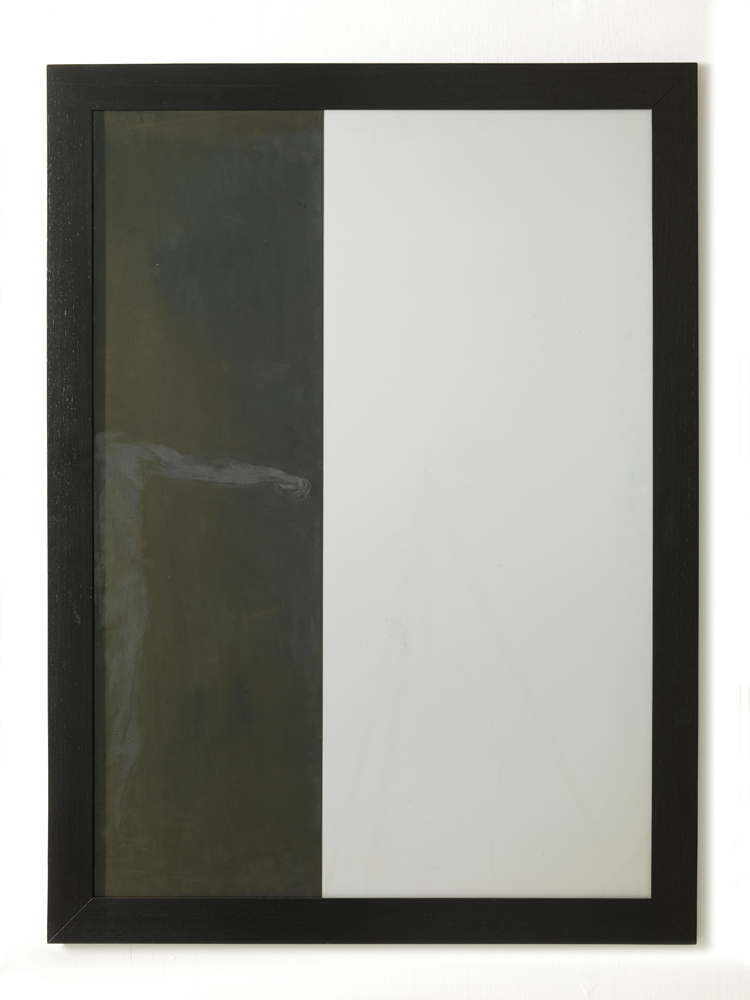 Carlo Alfano,  Studio per Camera , 1988, grafite e pellicola su alluminio,cm 114x84 ca.