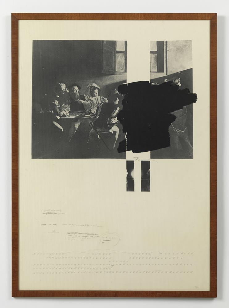 Carlo Alfano, Dalla vocazione al giocatore , 1970-1979 ca, grafite su carta stampata,cm 100x70