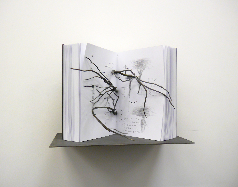 Marisa Albanese,  Book #1 ,2015,carta e bronzo, cm 31x30x35 (mensola cm 42x26)
