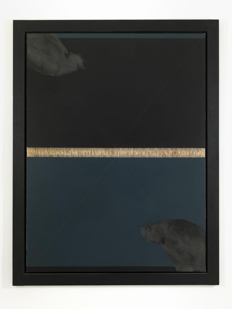 Carlo Alfano, Figura n.9 , 1984, filo, acrilico e grafite su tela, cm 223x173