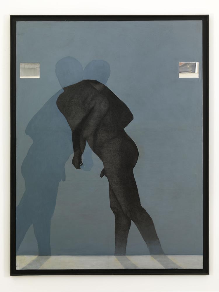 Carlo Alfano, Senza titolo (figura blu), 1985, acrilico e grafite su tela,cm 210x160,5