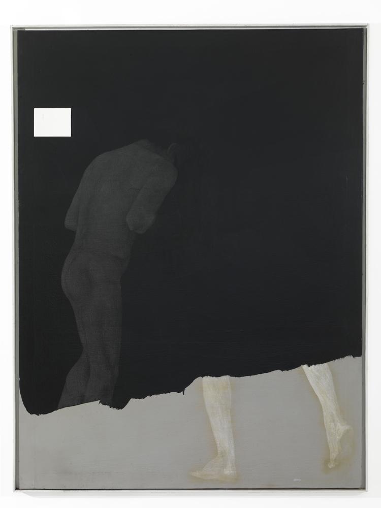 Carlo Alfano, Senza titolo  (figura nera), 1985, acrilico e grafite su tela,cm 204x156