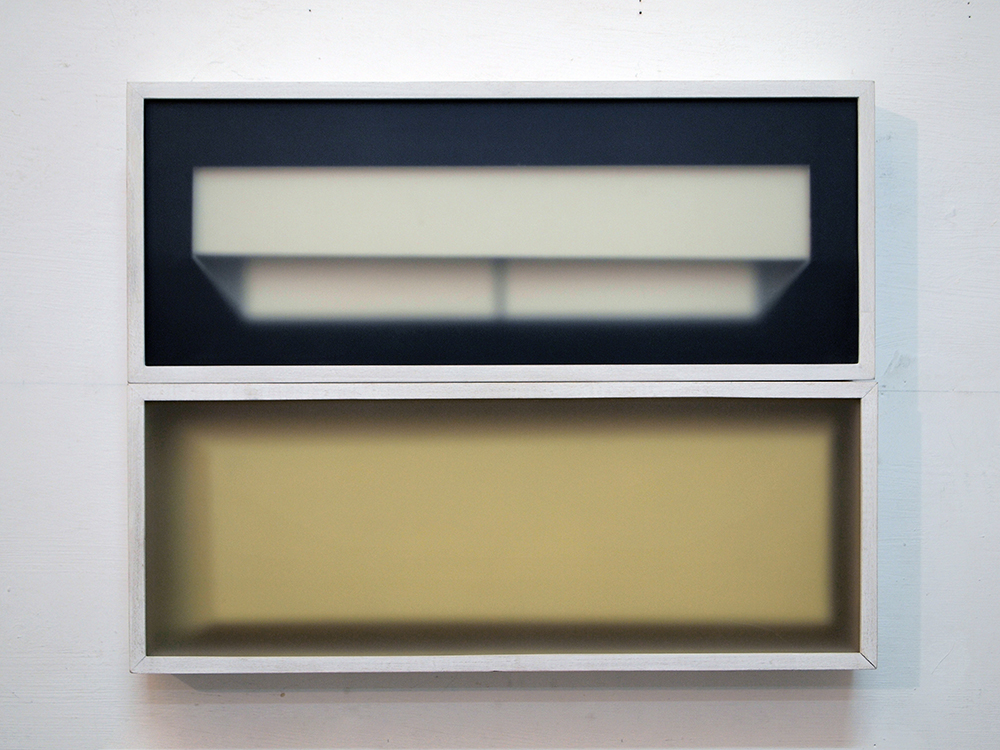 Corpi fragili , 2016 Dittico. Vetro, legno, carta cm 18 x 46 cad.