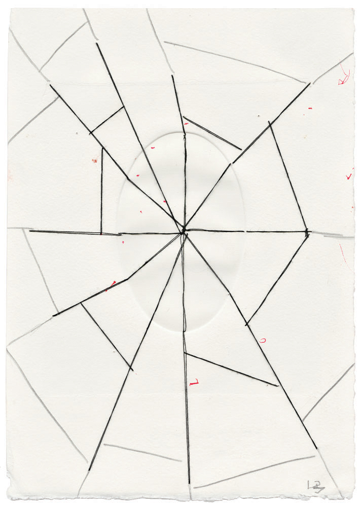 Untitled , 2006,thread, pencil and ink on embossed paper,26 x 18.4 cm Ph Christopher Burke © The Easton Foundation/SIAE